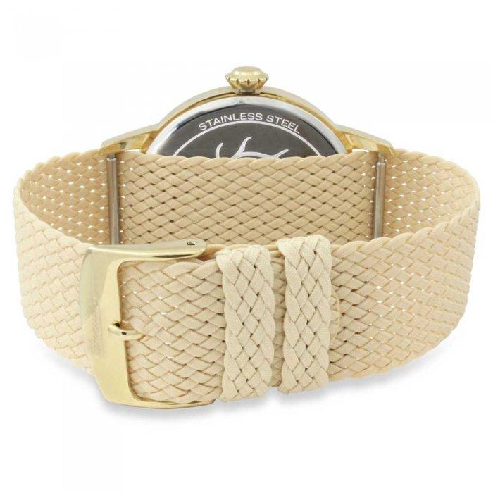 Circula Retro Quarz Ronda Uhrwerk gold beiges Textilarmband Swiss Made