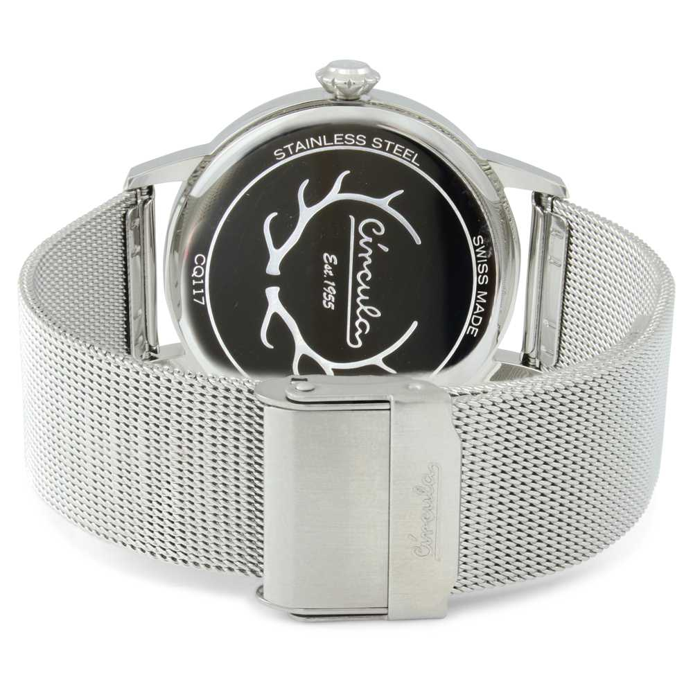 Circula Retro Quarz Ronda Uhrwerk silber silbernes Milanaise Armband Swiss Made