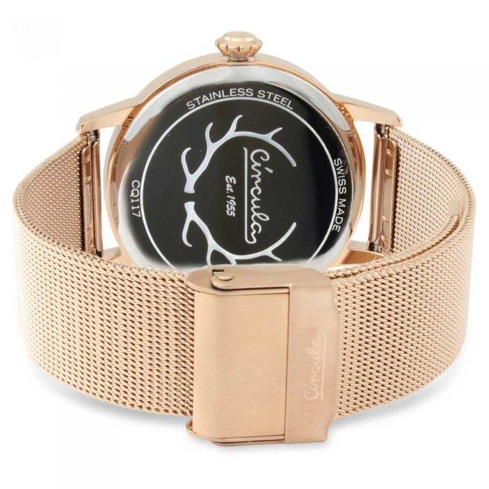 Circula Retro Quarz Ronda Uhrwerk silber rosegoldenes Milanaise Armband Swiss Made