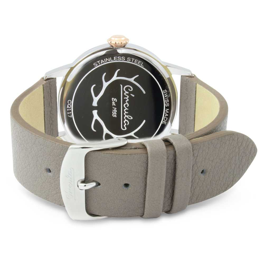 Circula Retro Quarz Ronda Uhrwerk silber graues Lederarmband Swiss Made