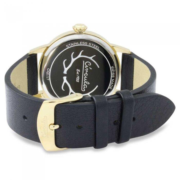 Circula Retro Quarz Ronda Uhrwerk gold schwarzes Lederarmband Swiss Made