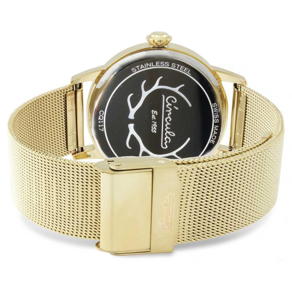Circula Retro Quarz Ronda Uhrwerk gold goldenes Milanaise Armband Swiss Made