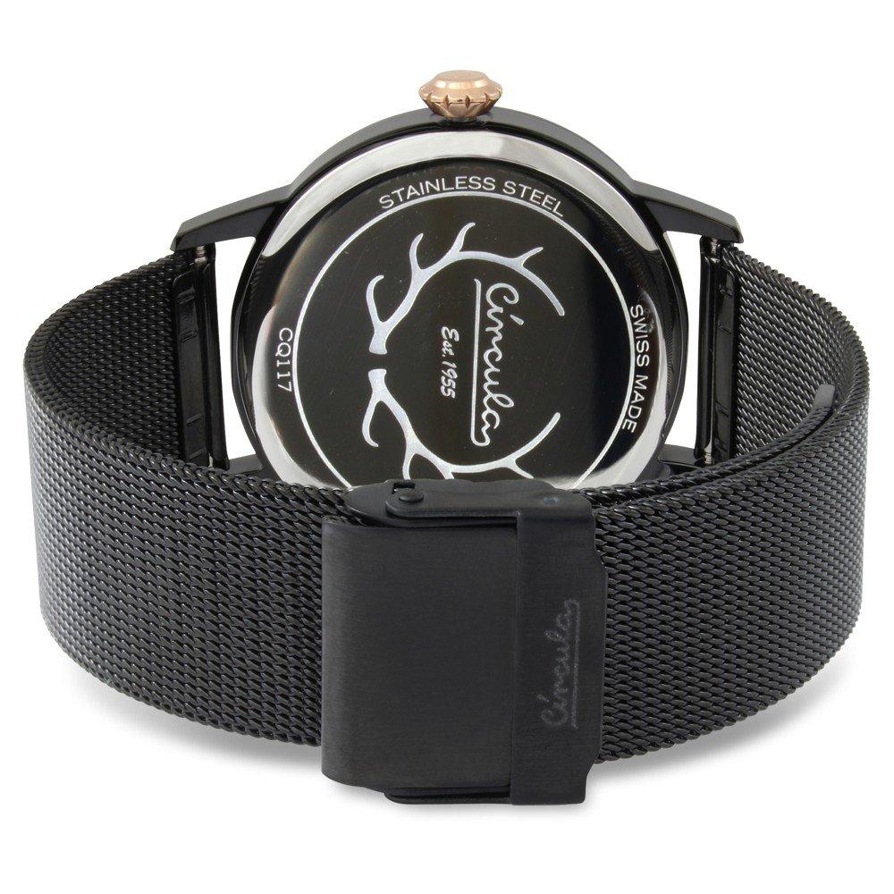 Circula Retro Quarz Ronda Uhrwerk schwarz schwarzes Milanaise Armband Swiss Made