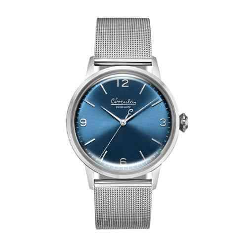 Circula Retro Quarz Ronda Uhrwerk silber blaues Ziffernblatt silbernes Milanaise Armband Swiss Made