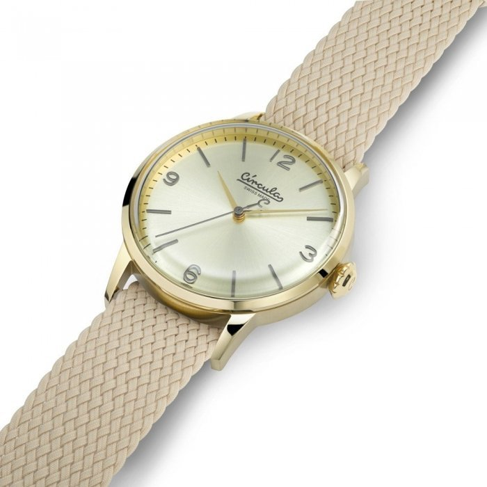 Wristwatch in Vintage Design - Swiss Made, Stainless Steel, Textile Strap