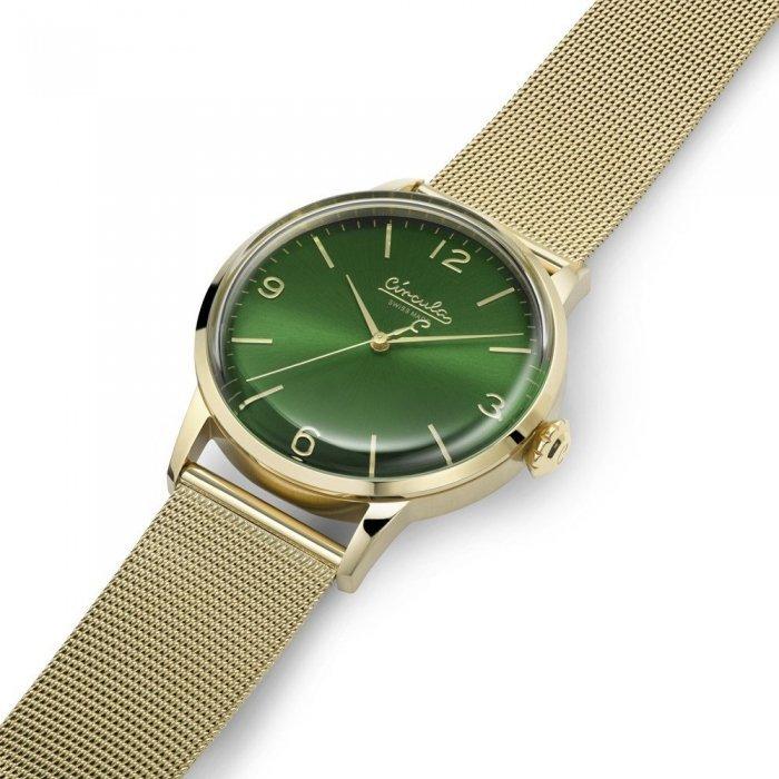 Circula Retro Quarz Ronda Uhrwerk gold grünes Ziffernblatt goldenes Milanaise Armband gewölbtes Mineralglas