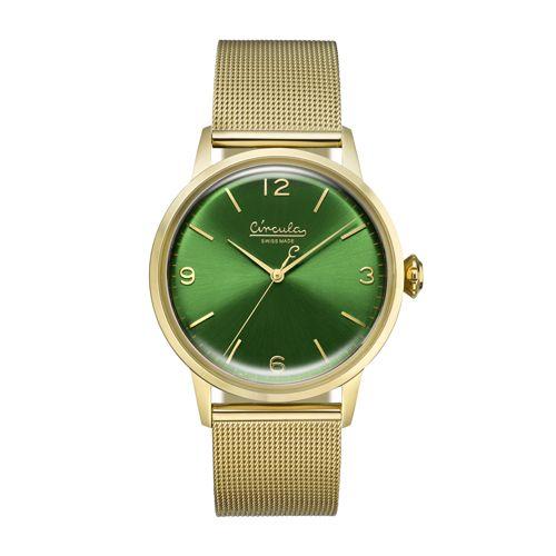 Circula Retro Quarz Ronda Uhrwerk gold grünes Ziffernblatt goldenes Milanaise Armband
