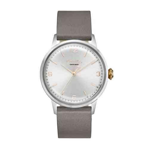 Circula Retro Quarz Ronda Uhrwerk silber silbernes Ziffernblatt graues Lederarmband Swiss Made