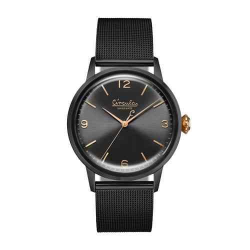 Circula Retro Quarz Ronda Uhrwerk schwarz schwarzes Ziffernblatt schwarzes Milanaise Armband Swiss Made