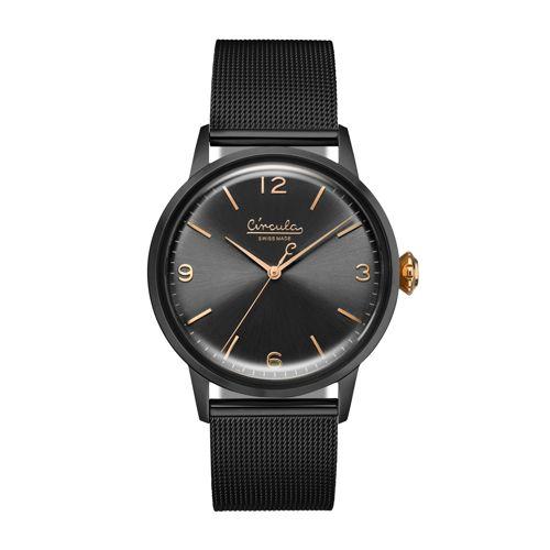 Armbanduhr im Vintage-Design - Swiss Made, Edelstahl, Meshband
