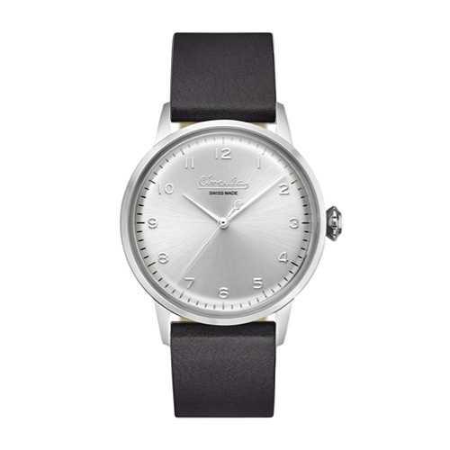 Circula Retro Quarz Ronda Uhrwerk silber silbernes Ziffernblatt schwarzes Lederarmband Swiss Made