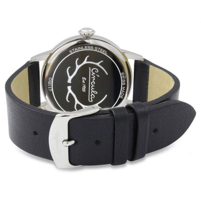 Circula Retro Quarz Ronda Uhrwerk silber schwarzes Lederarmband Swiss Made