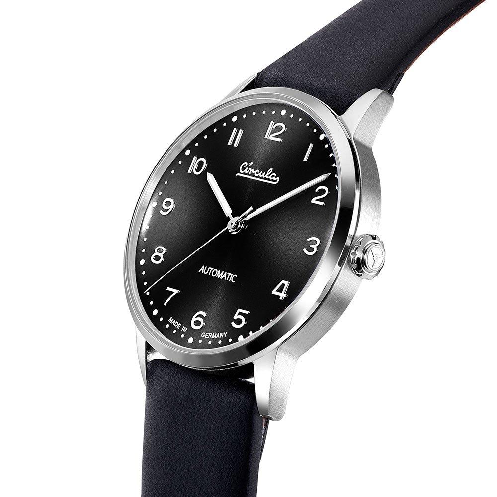 Circula Heritage Uhr Automatik silber PUW Werk schwarzes Ziffernblatt schwarzes Lederarmband