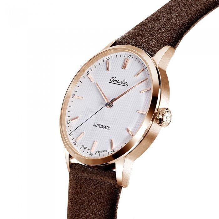 Circula Klassik Uhr Automatik Miyota 9015 rotgold weißes Ziffernblatt braunes Lederarmband