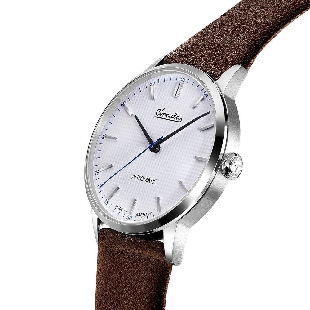 Circula Klassik Uhr Automatik Miyota 9015 silber weißes Ziffernblatt braunes Lederarmband
