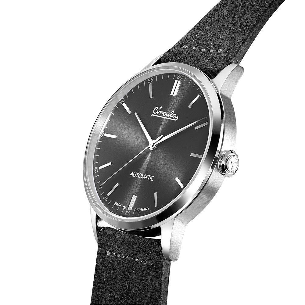 Circula Klassik Uhr Automatik Miyota 9015 silber schwarzes Ziffernblatt schwarzes Lederarmband