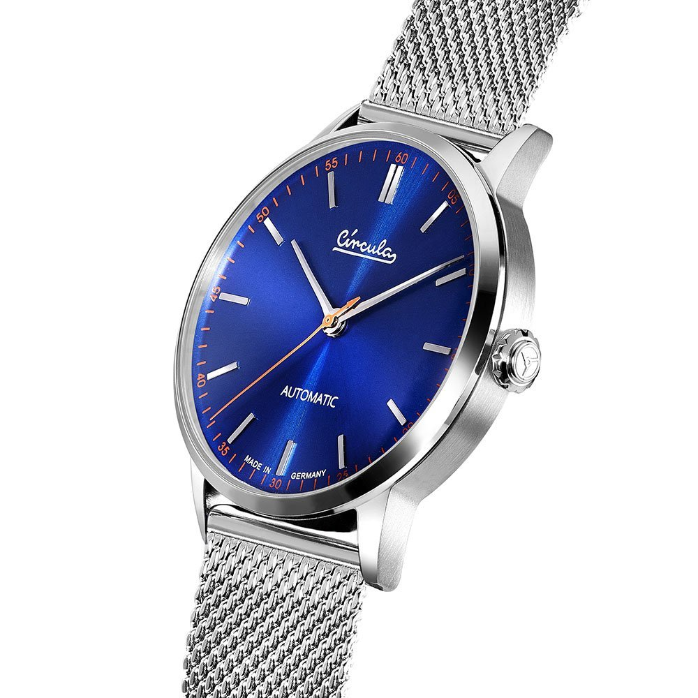 Circula Klassik Uhr Automatik Miyota 9015 silber blaues Ziffernblatt Milanaise