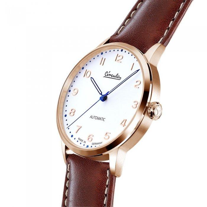 Circula Heritage Uhr Automatik rotgold PUW Werk weißes Ziffernblatt braunes Lederarmband mit Naht
