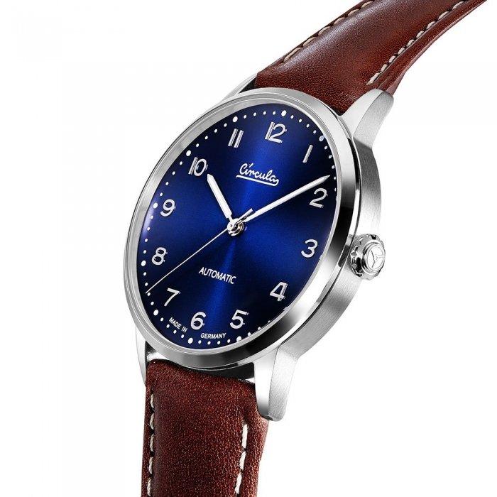 Circula Heritage Uhr Automatik silber PUW Werk blaues Ziffernblatt braunes Lederarmband mit Naht