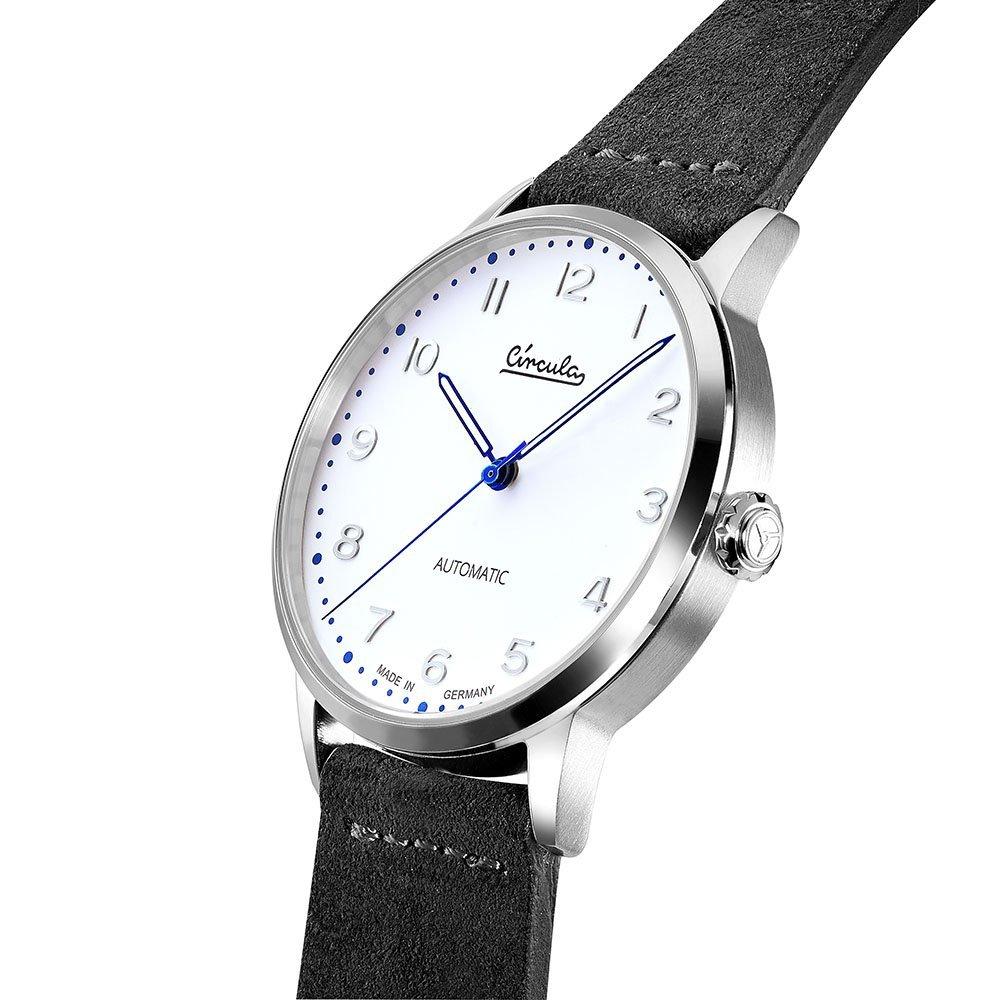 Circula Heritage Uhr Automatik silber PUW Werk weißes Ziffernblatt gebläute Zeiger graues Velourslederarmband