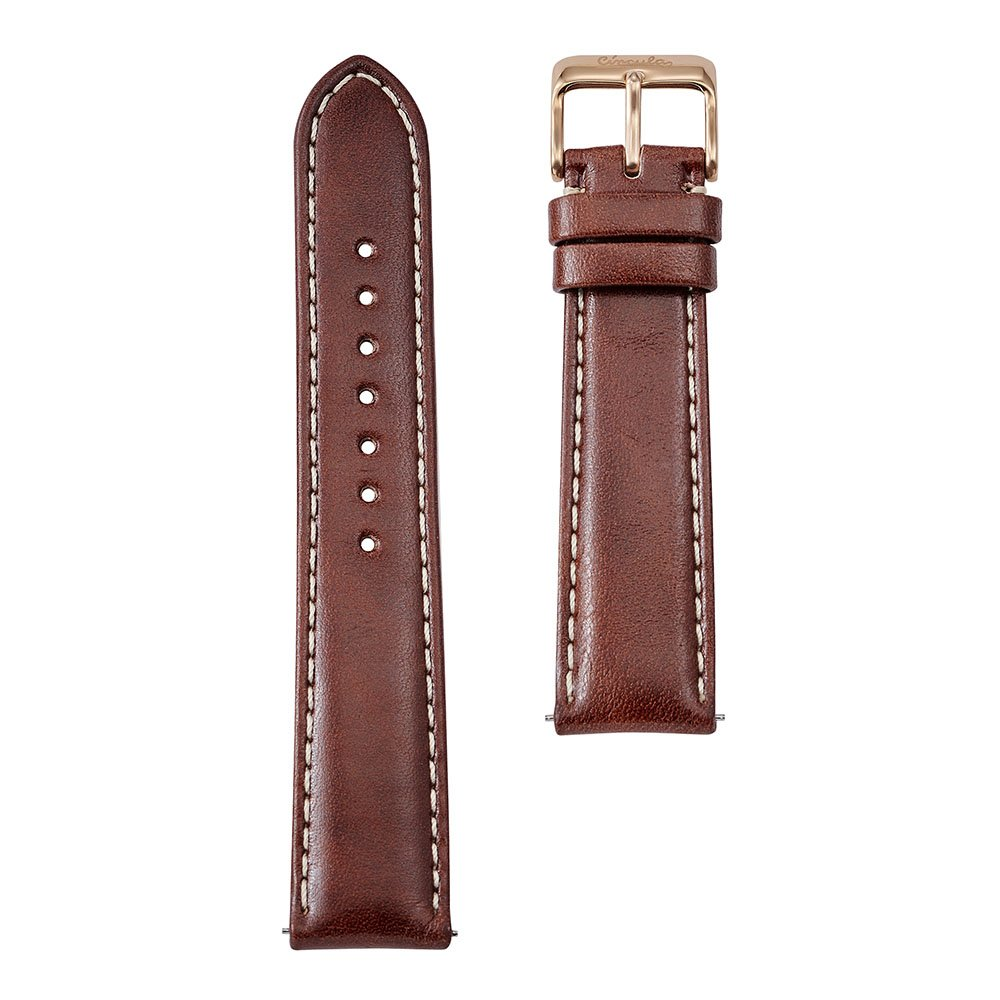Circula Uhrenarmband Leder braun mit Naht 20 mm Schnellwechselsystem rotgoldene Dornschließe pflanzlich gegerbt