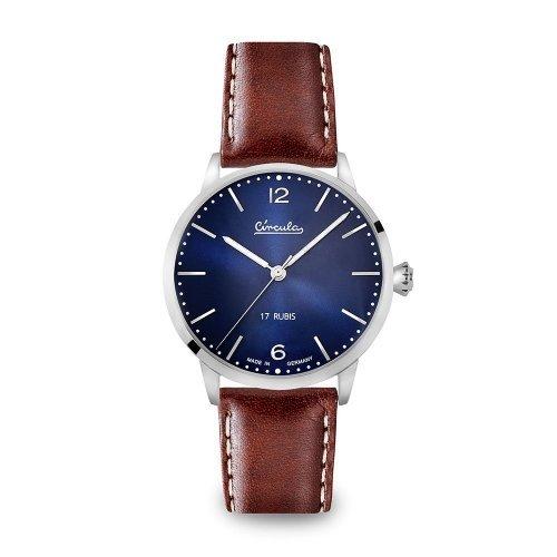 Circula Heritage Handaufzuguhr silber PUW Werk blaues Ziffernblatt braunes Lederarmband mit Naht