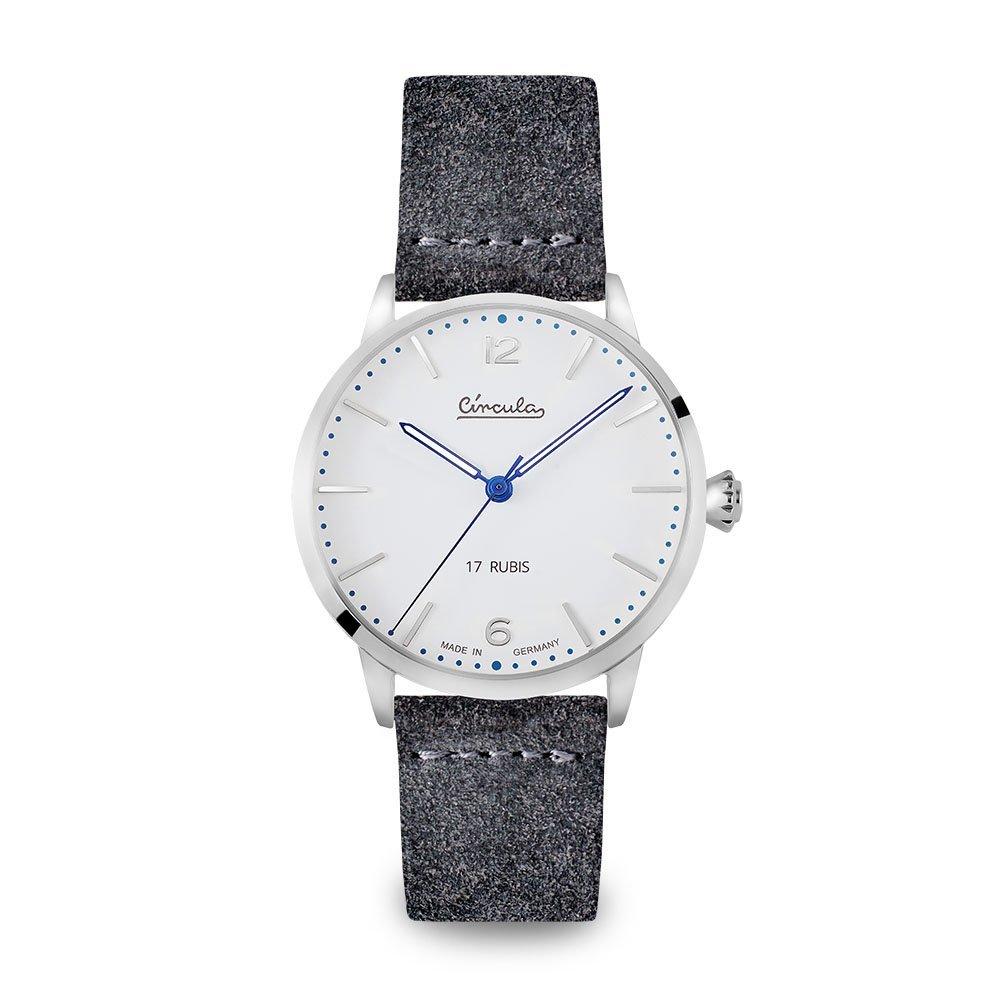 Circula Heritage Handaufzuguhr silber PUW Werk weißes Ziffernblatt graues Velourslederarmband