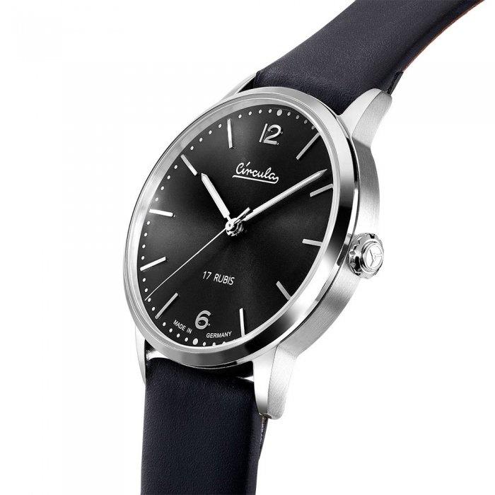 Circula Heritage Uhr Handaufzug silber PUW Werk schwarzes Ziffernblatt schwarzes Lederarmband