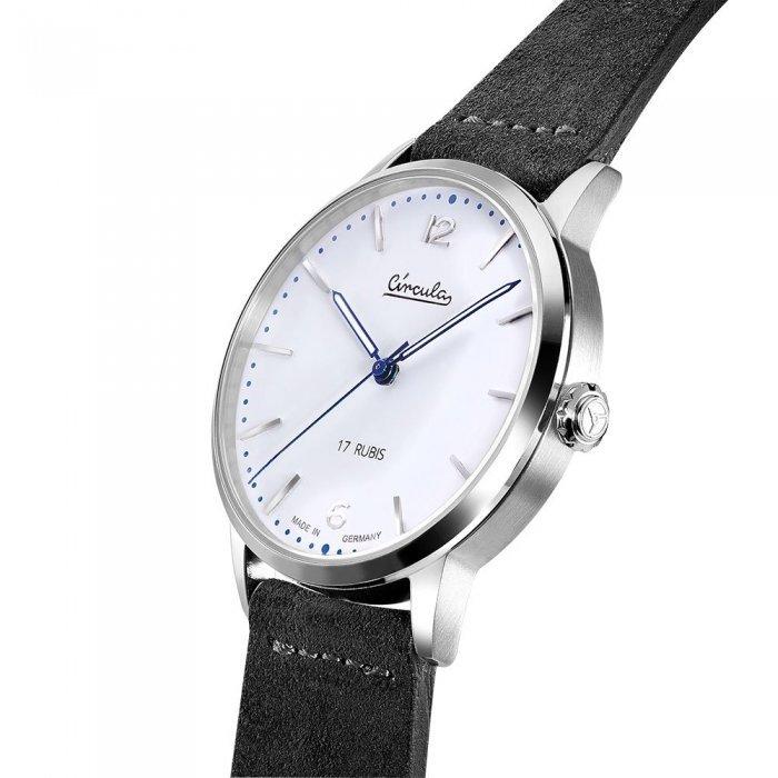 Circula Heritage Uhr Handaufzug silber PUW Werk weißes Ziffernblatt graues Velourslederarmband