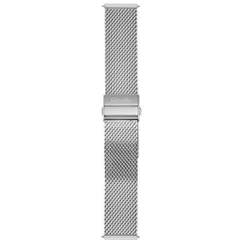Circula Milanaise Uhrenarmband 20 mm Schnellwechselsystem Edelstahl silber Faltschließe