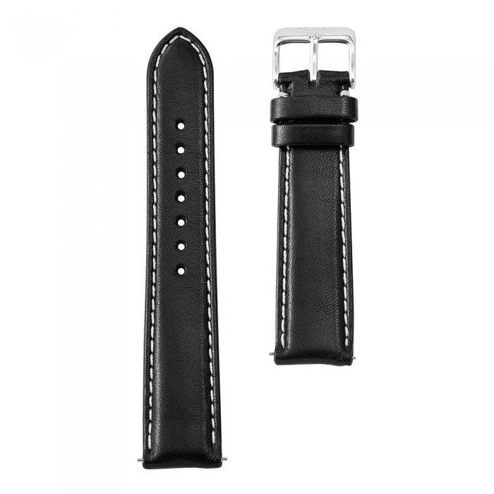 Circula Uhrenarmband Leder schwarz mit Naht 20 mm Schnellwechselsystem silberne Dornschließe pflanzlich gegerbt