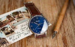 Circula Heritage Automatikuhr blaues Ziffernblatt PUW Werk